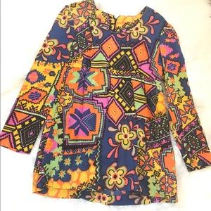 Vintage Patchwork Long Sleeve Tunic Blouse